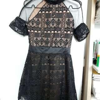 *Brand New* Elegant Lady Black Lace Crotchet Dress