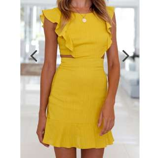 Mustard Yellow Linen Frill Mini dress size 6