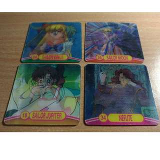 Sailormoon 2x2 inches, Lenticular Cards by Artbox, Year 2000