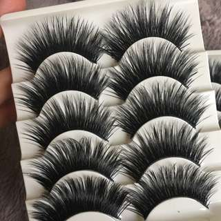5Pairs/Set Natural Black Long Fake Eye Lashes Handmade Thick False Eyelashes