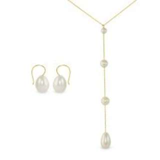 Vera Perla 18K Gold Gradual Built-in with Drop Pearl Necklace & Earrings