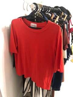 oversized red ulzzang korean t shirt tee