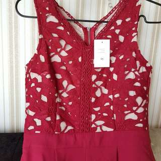 *Brand New* Maroon Red Crotchet Jumpsuit