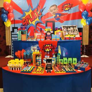 Baby boy superheroes birthday party