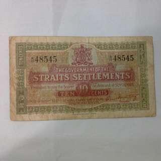 Straits Settlements 10 Cents 1919 Note