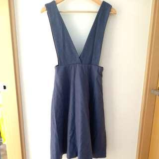 D 藍紫色紫羅蘭大V 韓款 羊毛絨連身裙洋裝工人裙 purple violet V one piece dress