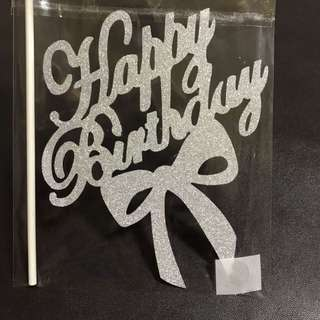 INSTOCKS! Happy Birthday with ribbon cake topper in Silver decoration