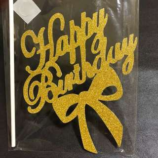 INSTOCKS! Happy Birthday with ribbon cake topper in GOLD decorations