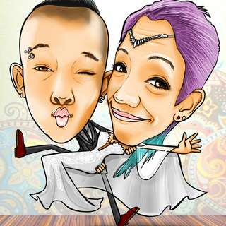 Digital wedding caricature