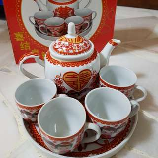 Chinese Wedding Teapot & Cups