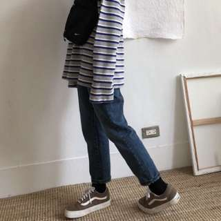 92PLEATS 深藍刷色小直筒丹寧褲 正韓 轉賣