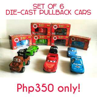 (Set of 6) Die-cast Pullback Cars
