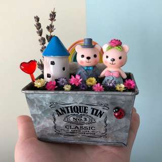 ❤️Loving Sweet Wedding Bear Couple Rainbow Round Cottage Lavender Frozen Flowers Cute Terrarium Deco Antique Tin Pot