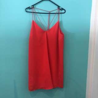 Orange Bardot dress