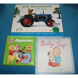 3 kids baby children books Baby says Old Macdonald had a farm