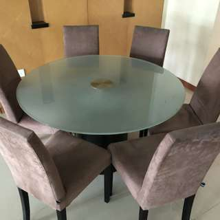 Full Dining Set : Round Frosted Glass Table with 6 chairs