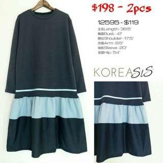 韓國製made in korea 拼接 條紋藍色連身裙 blue one piece dress D