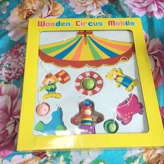 BNIB Wooden circus mobile