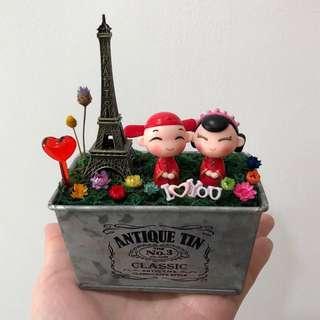 ❤️Loving Traditional Wedding Couple I Love You Eiffel Paris Tower Frozen Flowers Cute Terrarium Deco Antique Tin Pot