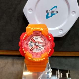 * FREE DELIVERY * Brand New 100% Authentic Casio BabyG Jelly Orange Baby G Ladies Watch Baby-G BA110JM 4 BA110JM-4ADR