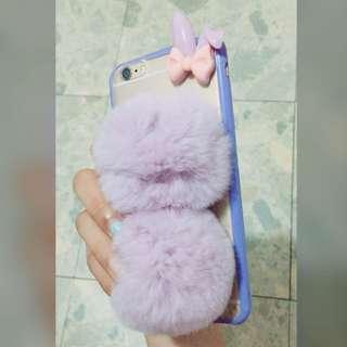 毛球兔子軟硅膠包邊電話殼ip6plus\6s plus