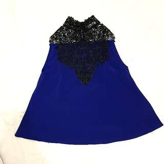 NYLA Sleveless Top with Brocade in Navy
