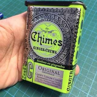 Chimes ginger chews sliding top metallic tin