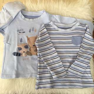 Mothercare Preloved Baby Long T-Shirt Size 12-18m 2pcs