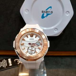 * FREE DELIVERY * Brand New 100% Authentic Casio BabyG Rose Gold Bezel & White Dial Baby G Ladies Watxh Baby-G BGA220G 7 BGA220G-7ADR