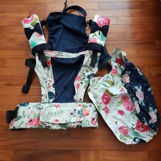 Tula FTG Rosy Posy (with matching drool pads and carrier keeper)