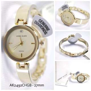 ANNE KLEIN AK2492CHGB CHAMPAGNE DIAL GOLD SEMI BANGLE LADIES WATCH