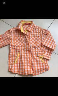 Baby Children Button Collar Checkered Shirt