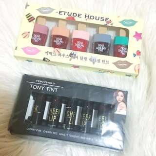 Etude and Tony Moly lip and cheek tint package
