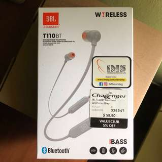 JBL T110BT Bluetooth Earphones (Grey)