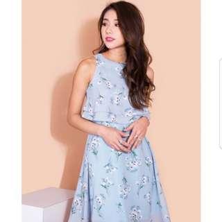 MGP Nerelle Floral Tiered Dress (blue)