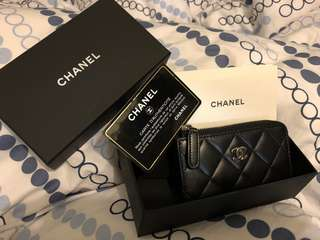 Chanel Classic CC Logo Card Holder W/Key Ring(2016)羊皮  8成新