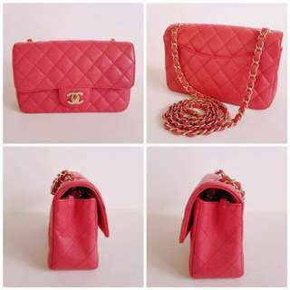 Authentic Chanel Rectangular Mini in dark pink
