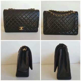Authentic CHANEL black gold hardware Maxi classic flap bag