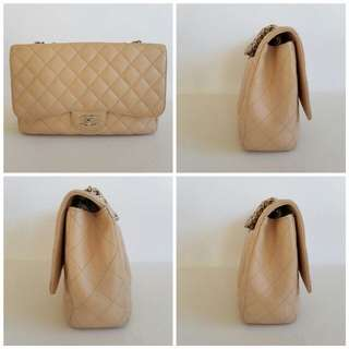 Authentic Chanel single flap beige caviar in silver hardware