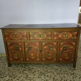 Tibetan Painted Antique Vintage Wooden Dragon Cabinet Altar