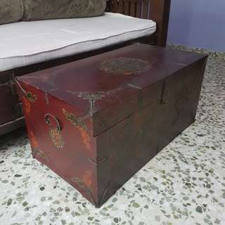 Antique Wooden Tibetan Coffee Table Chest