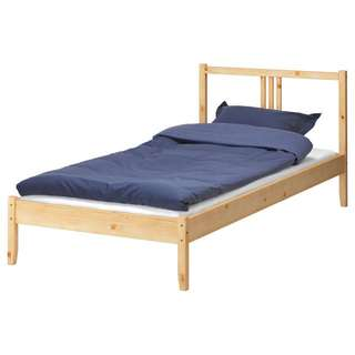 Ikea Single Wood Bed Frame with Slatted bed base