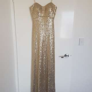 Gold sequin ball dress size 8