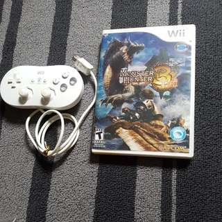 Preloved Wii Game Monster hunter 3 with controller pad