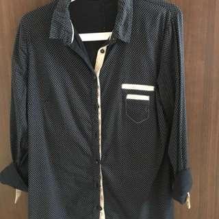 Zara Podka Dot Shirt in Navy