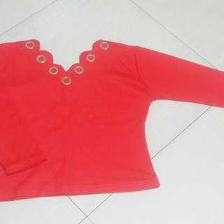 Red long sleeves top