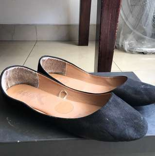 Ruby black flats suede