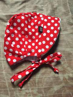 McBibs red polka dot sunbonnet with visor