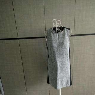 Padini Grey Tweed And Black Back Dress