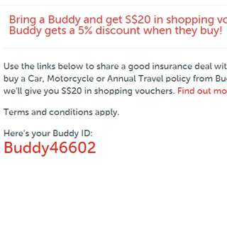 5% off Budget Direct insurance premiums with ID: Buddy46602